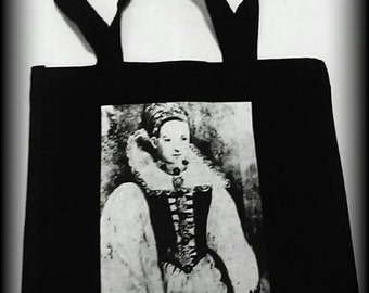Elizabeth Bathory tote bag, Bathory purse, horror bag, horror clothing, gothic clothing, gothic tote, gothic bag, Elizabeth Bathory bag