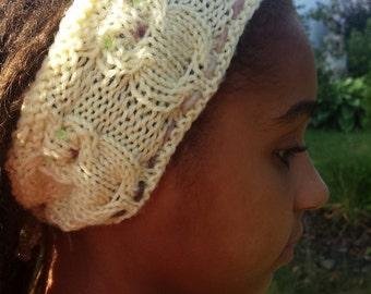 Owl headband pure wool knitted