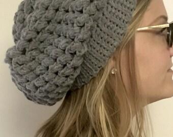 Crochet Thick Gray Beanie