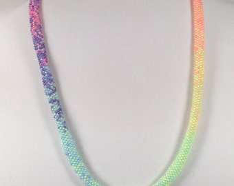 Rainbow Necklace in Neon Seed Beads