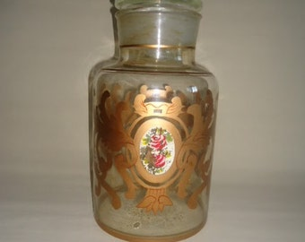 Vintage Apothecary Jar Glass Handpainted