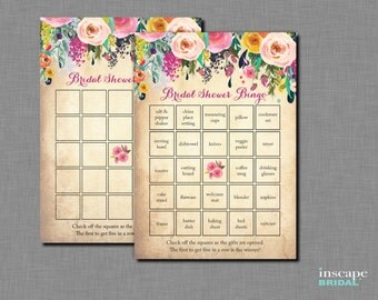 Bingo Game Printable, Floral Bridal Shower Bingo Game, 1 Blank AND 40 Unique / Different Pre-Filled Bingo Cards, Downloadable Shower Bingo