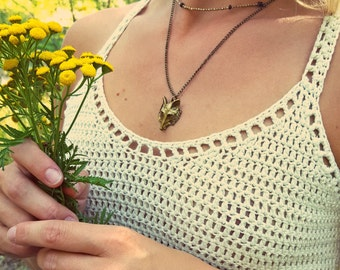 Layered Necklace with Brass and Wooden Beads//Wolf Face Necklace