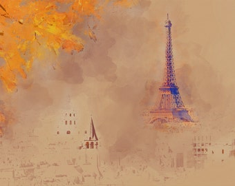 Eiffel Tower Paris France Art Watercolor Painting Artwork Print Watercolour Drawing European