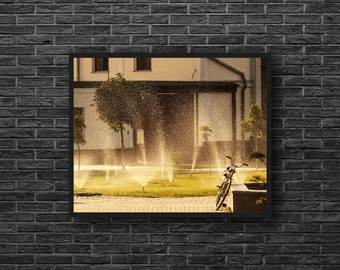 Summertime Print - Bicycle Photography - Bicycle Print - Urban Summer Photography - Town Print - Summer Wall Decor - Yellow Wall Decor