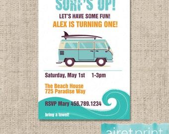 Surf's Up Birthday Invitation - Birthday Boy Surf Ocean Beach Vintage Van Invite - Printable Invitation