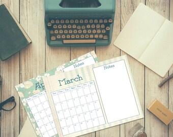 2017 Printable Calendar, Yearly Calendar, Planner, Schedule, Vintage Style Design