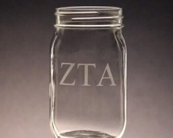 Zeta Tau Alpha | Mason Jar Etched ZTA Mason Jar 16oz Mason Jars
