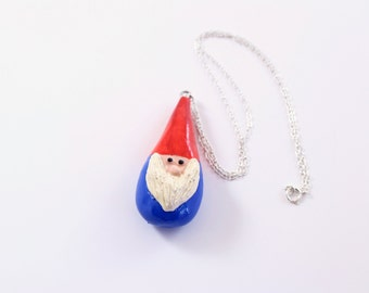 Whimsical Garden Gnome Necklace in Traditional Blue and Red: Modern Totem Perfect For Mothers Day, Christmas, or Girlfriend Gift Under 50