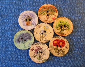 Printed Natural Wood Buttons Large 25 mm Round Painted Buttons Flowers & Trees Button Crafts Art Sewing Knitting Crochet Gift Wrap Supplies