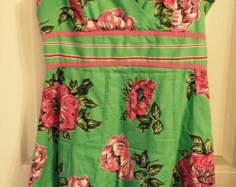 Pink Rose Green Vintage Cotton Sundress