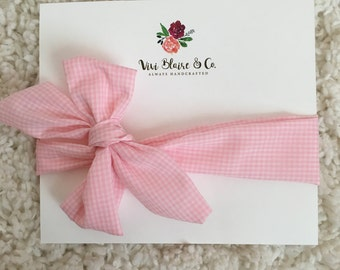 Pink Gingham Baby/Toddler Headwrapd