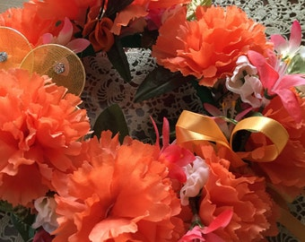 Orange carnation candle ring   Liz