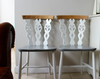 Pair of Upcycled White and Grey Ercol Dining Chairs in Farrow & Ball Paint (sold as pair)
