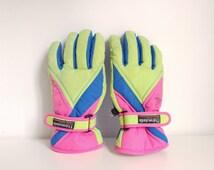 Vintage snow gloves. Children ski gloves. 90's gloves. Thinsulate glooves
