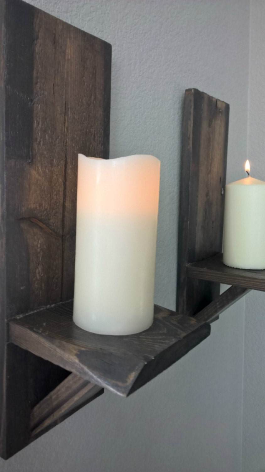 Wooden Wall Sconce Candle Holder : Candle Sconce. Wood candle holder. Wall by WoodenCraftStudio