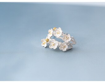 Cherry Blossom Earring 925 Sterling Silver ( Free US Shipping)