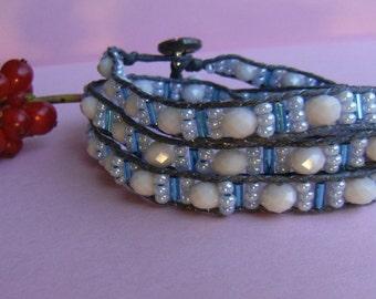 Czech glass beads bracelet white wrap 3 giriboho