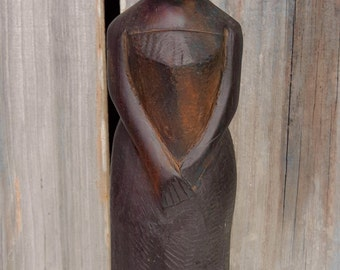 African Carved Wood Woman, Tribal Carving, Wood Carving, Vintage Lady, Folk Art