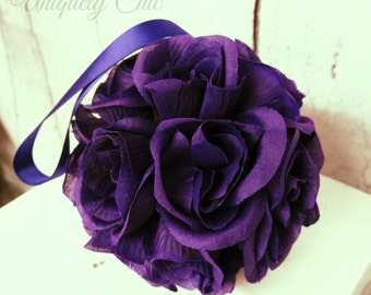 Flower girl kissing ball, Purple rose wedding decorations, Wedding pomanders