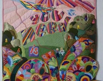 Original Art Quilt, textile Wall hanging, The Beatles, Song, Music, Cartoon, Yellow Submarine, psychedelic, love, joyful, flight, text quilt