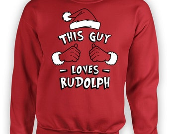 Funny Christmas Gifts For Men This Guy Loves Rudolph Sweater Holiday Clothes Xmas Present Christmas Tops Reindeer Sweater Hoodie TGW-601