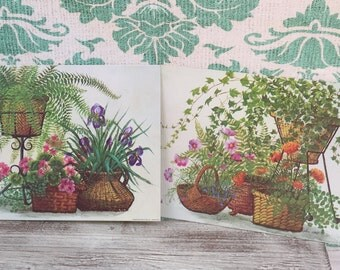 Vintage 1960s Plants Flowers Baskets Prints, Bohemian Decor, Still Life Prints, Bernard Picture Co prints, Boho Chic Pictures, Nel Cary