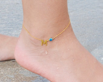 Initial Anklet Bracelet, Uppercase Initial Anklet, Birthstone Jewelry, Birthstone Anklet Bracelet, Personalized Anklet, Bridesmaid Gift