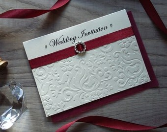 Handmade Floral Embossed Wedding Invitations Cards with Envelopes