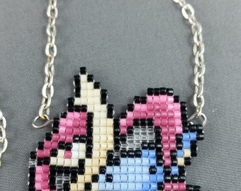 Cresselia Necklace - Pixel Necklace Pokemon Necklace Pixel Jewelry 8 bit Necklace Seed Bead Neklace Video Game Necklace Dragon Necklace