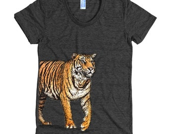 Bengal Tiger T Shirt - Wild Tiger Tee Shirt - Big Cat Tee - Women's American Apparel T Shirt - Item 1058