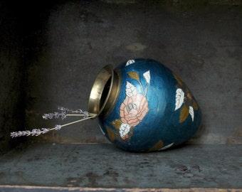 Brass Vase Vintage Cloisonne Enamel