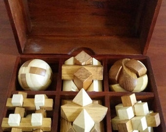 Vintage Set of Six Wooden Puzzles in Wooden Case