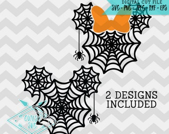 Mickey Minnie Spiderwebs - SVG, Disney, Digital file, Silhouette Studio, DXF, PNG, Cricut Cutting, Web, Halloween, Mouse, Micky, Spider