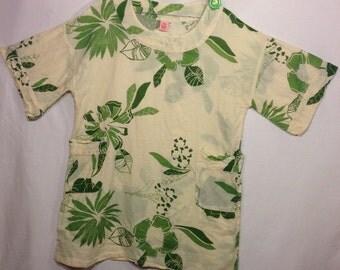designer tunic, leaf print tunic, short sleeved cotton tunic ,Cup Cake designs, size M,
