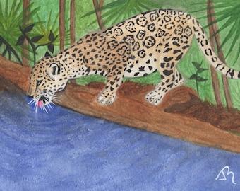 Jaguar, digital, downloadable, printable watercolor, digital art, watercolor of animals, animal illustration