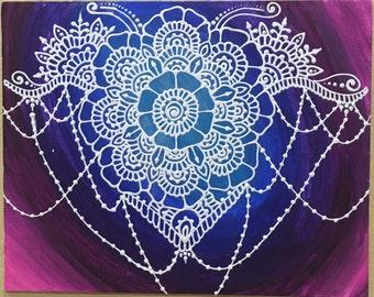 "Mehndi Style Mandala with Galaxy Background, Henna Painting, Mehndi Painting (16""x20"")"