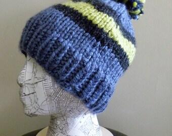 Chunky Knit Hat - Blue Stripe