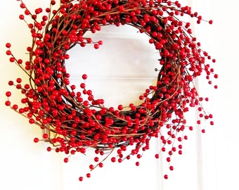 Fall Berry Wreaths, Holiday Berry Wreath For Fall And Thanksgiving Front Door Decor, Red Christmas