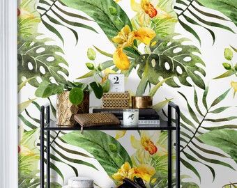 Canna flowers temporary wallpaper    Tropical floral wall mural    Murals    Exotic leaf reusable wall sticker    Moder decoration #26