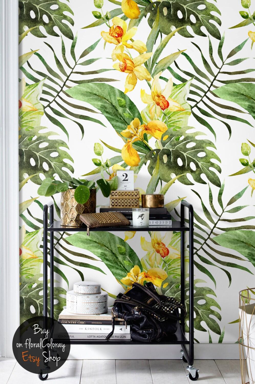 canna blumen tempor re tapete tropische blumen wandbild. Black Bedroom Furniture Sets. Home Design Ideas