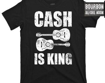 Cash is King Johnny Cash the man in black June Carter I Walk Line Ring of Fire Hurt Elvis Memphis movie costume poster crew v neck t shirt