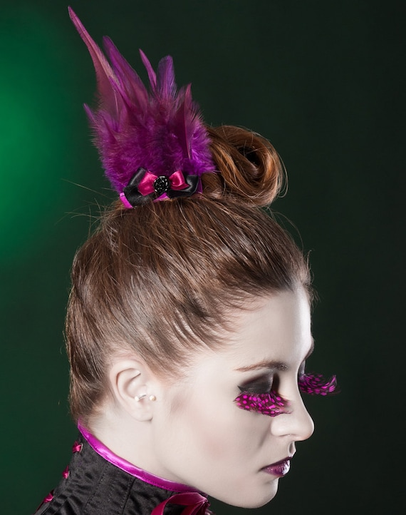 Purple black comb with feathers Style Dark Berry Sample sale Gothic burlesque hairpiece Feathers headpiece with bow and resin rose