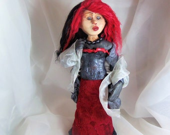 Polymer Clay Art Doll - Queen of Hearts Art Doll -  Valentine Art Doll - Warrior Quest Art Doll - Corset Armor