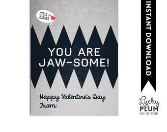 Jaws Valentine Printable Tag / Shark Valentine Printable Tag / Boy Valentine Printable / You Are Jaw Some / Goldfish Valentine Tag