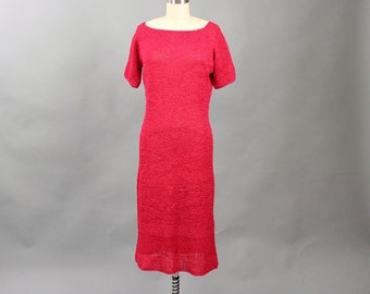vintage 1950s raffia ribbon dress in raspberry pinkish red . hand knit wiggle dress . AS IS SALE . womens size medium or large