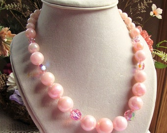 1960s Pink Acrylic and Crystal Graduated Necklace 19 Inch Length
