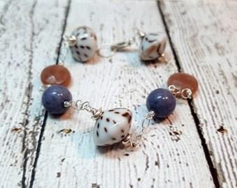 Quartz & Glass Bead Bracelet, Blue and Rose Quartz, Gemstone Bracelet, Artisan Glass, Gifts for Her, Azure Blue, Zen Bracelet,  Boho Jewelry