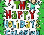 PDF Downloadable Christmas Happy Holidays Coloring Book 12 pages