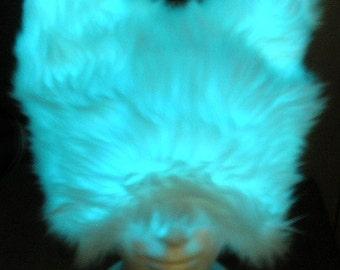 GLOW HAT El Wire Fauxfur BurningMan style Festival Costume Illuminated Electroluminescent Fakefur Rave Glowing Cat Hat Glowfur 1 Size